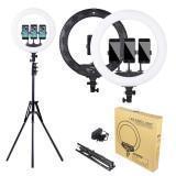 Lampa circulara LED lumina rece/calda, cu telecomanda Ring Light 35cm
