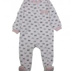 Salopeta / Pijama bebe cu fundite Z35, 1-2 ani, 12-18 luni, 9-12 luni, Roz