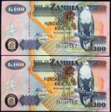 Lot/Set 2 BANCNOTE SERII CONSECUTIVE 100 KWACHA - ZAMBIA 2009  *cod 882 - UNC!