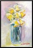 Narcise, tablou pictura ulei pe panza un cadou de neuitat, Flori, Impresionism