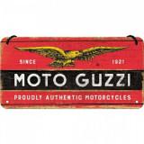 Placa metalica cu snur - Moto Guzzi logo - 10x20 cm
