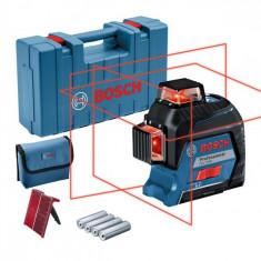 Bosch GLL 3-80 Nivela laser cu linii, 30m, receptor 120m, precizie 0.3 mm/m foto