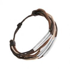Brățară șnur, nuanțe de maro, bej și negru, segmente din oțel
