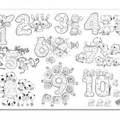 Plansa de colorat reutilizabila din silicon Cifre si numere