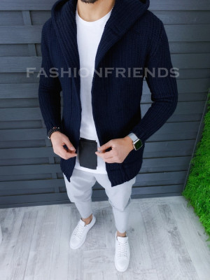 Cardigan barbati bleumarin cu gluga slim fit ZR T3516 foto