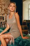 Rochie scurtă din material strălucitor, S, Bej