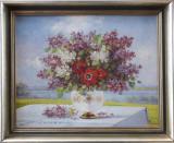 Tablou – pictură cu flori de Keist Vukovic (1892-1973), Ulei, Realism