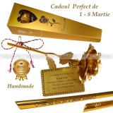 CADOUL PERFECT DE 8 Martie – Trandafir placat cu foiță de aur 24K cu text gravat, Cadouri pentru femei, Cadouri Valentine`s Day