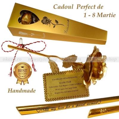 CADOUL IDEAL AL PRIMAVERII – Trandafir placat cu foiță de aur 24K cu text gravat foto