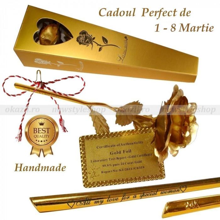 CADOUL IDEAL AL PRIMAVERII – Trandafir placat cu foiță de aur 24K cu text gravat