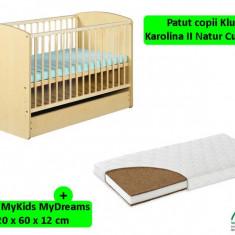 Patut Cu Sertar Klups Karolina II Natur + Saltea 12 MyKids MyDreams
