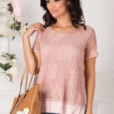 Bluza roz din dantela florala