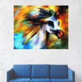 Tablou Canvas, Portret Artistic Cal Alb - 80 x 100 cm
