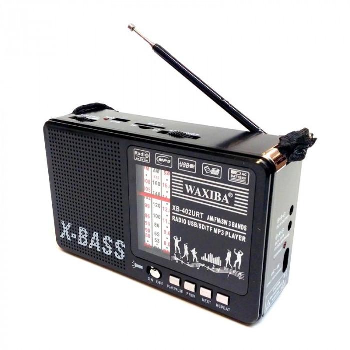 Radio portabil XB-402URT, USB, slot card SD, lanterna incorporata