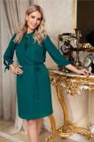 Rochie Leonard Collection verde din voal cu funda la guler
