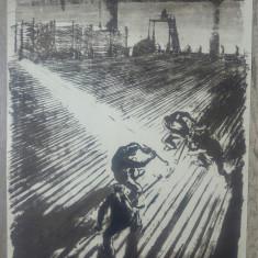 Siderurgistii// litografie Marcel Chirnoaga, exemplar de artist