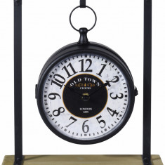 Ceas negru cu alb din metal pe suport 27x10x31cm