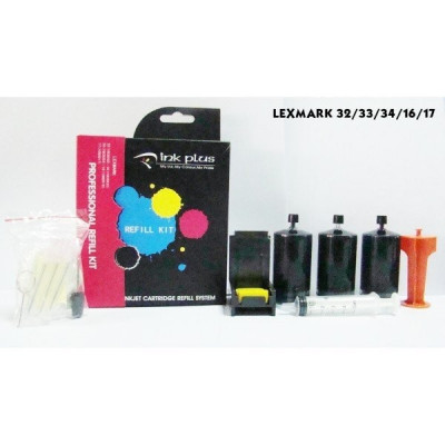Kit refill negru reincarcare cartuse Lexmark-16 Lexmark-17 Lexmark-32 Lexmark-34 foto