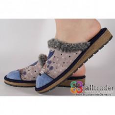 Papuci de casa bleumarini cu talpa cu memorie dama/dame/femei (cod 191017)