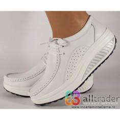 Pantofi albi piele naturala talpa convexa dama/dame/femei (cod AC020-43)