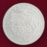 Moneda din argint 5 Lei 1880 semnatura Kullrich pe cerc