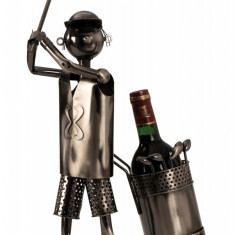 Suport metal pentru sticla vin model jucator golf H 53 cm
