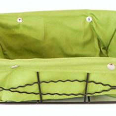 Cos servire dreptunghiular paine din metal cu panza, 23 x 18 x 8 cm culoare verde, 012098