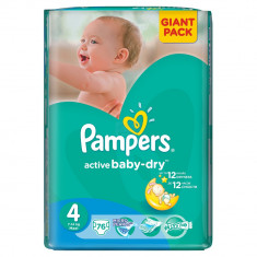 Scutece Pampers Active Baby-Dry 4 Maxi, 76 buc, 7 - 14 kg