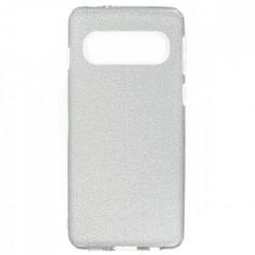 Husa Silicon Samsung Galaxy S10 Plus Glitter Argintie
