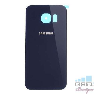 Capac Baterie Spate Samsung Galaxy S6 Edge G925 Cu Adeziv Sticker Albastru foto