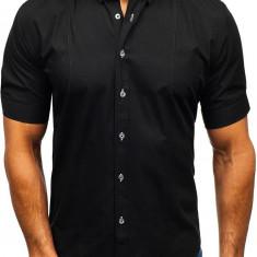 Cămașă elegantă pentru bărbat cu mâneca scurtă neagră Bolf 5535, Maneca scurta