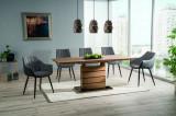 Cumpara ieftin Set masa extensibila din MDF si sticla Leonardo Large Stejar / Negru + 4 scaune tapitate Zoom Gri / Negru + 2 scaune tapitate Bruno Gri / Negru, L160-