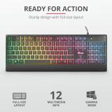 Tastatura Ziva Gaming Rainbow LED Keyboard, Trust