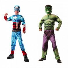 Costum reversibil 2 in 1 Hulk si Captain America cu muschi Deluxe Marvel M 5 7 ani