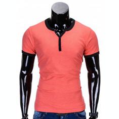 Tricou pentru barbati, roz, simplu, slim fit, mulat pe corp, bumbac - S651