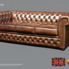 Canapea extensibilă din piele naturală-Chesterfield Brand