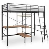 Cadru de pat supraetajat cu masă, negru, 90 x 200 cm, metal