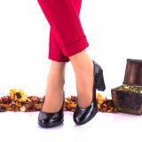 Pantofi dama eleganti din piele naturala ,negri,croco toc 6cm - NA236