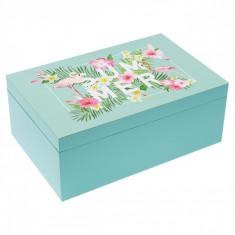 Cutie pentru depozitare din lemn, model flamingo, 26x17x10 cm, multicolor