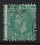 ROMANIA 1879 - BUCURESTI II 5 BANI VERDE EROARE DANTELURA DEPLASATA CIRCULAT, Stampilat