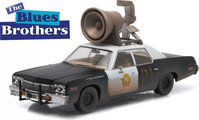 """Blues Brothers (1980) - 1974 Dodge Monaco """"Bluesmobile"""" with Horn on Roof - Hollywood 1:43"""