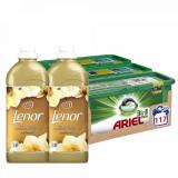Cumpara ieftin Pachet Ariel Pods 117 spalari si Lenor Gold Orchid 2x50 spalari