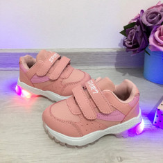 Adidasi roz cu luminite beculete LED pt copii fete 27 30 31 32 33 34 35