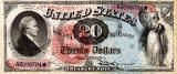 20 dolari 1869 Reproducere Bancnota USD , Dimensiune reala 1:1