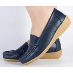 Pantofi platforma bleumarini piele naturala (cod B801194)