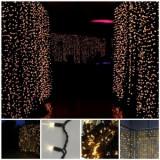 Cumpara ieftin Perdea luminoasa exterior cablu negru, 3 x 3 m inaltime, lumina calda, interconectabila