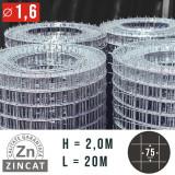 Cumpara ieftin Plasa gard sudata zincata, 2,0 x 20 m, 75 x75, diametru 1,6 mm