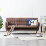 Canapea cu 3 locuri, material textil, 172 x 70 x 82 cm, maro