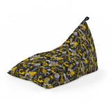 Cumpara ieftin Fotoliu Units Puf (Bean Bag) tip lounge, impermeabil, cu maner, 155 x 83 x 65 cm, graffiti retro negru si galben