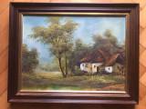 Tablou,pictura franceza in ulei pe panza,casa in padure